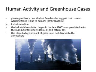Human Activity and Greenhouse Gases