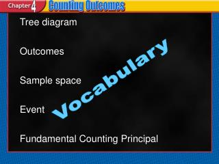 Tree diagram Outcomes Sample space Event Fundamental Counting Principal