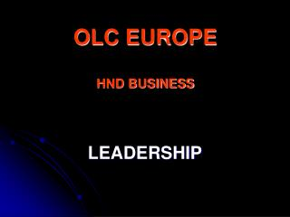 OLC EUROPE HND BUSINESS