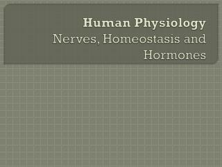 Human Physiology Nerves, Homeostasis and Hormones
