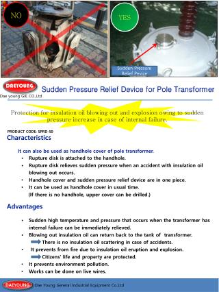 Sudden Pressure Relief Device for Pole Transformer