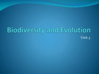 Biodiversity and Evolution