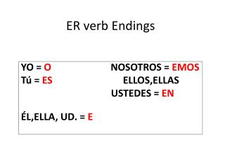 ER verb Endings