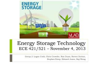 Energy Storage Technology ECE  421/521  – November 4, 2013