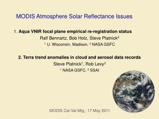 MODIS Atmosphere  Solar Reflectance Issues
