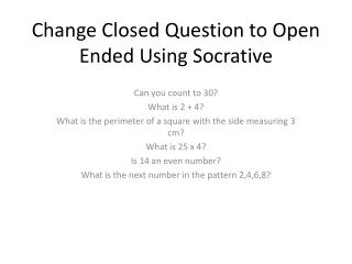 Change Closed Question to Open Ended Using  Socrative