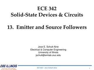 ECE  342 Solid-State Devices & Circuits 13.  Emitter and Source Followers