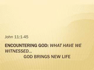 Encountering God:  What have we witnessed… God Brings New Life