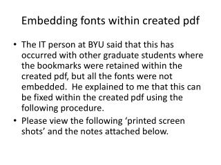 Embedding fonts within created  pdf