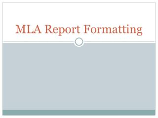 MLA Report Formatting