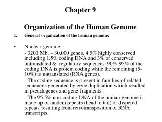 Chapter 9 Organization of the Human Genome