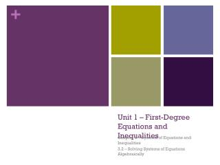 Unit 1 – First-Degree Equations and Inequalities