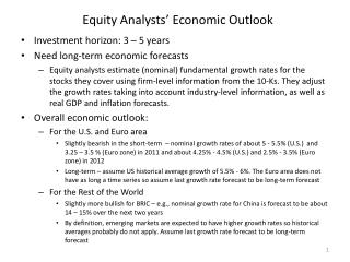 Equity Analysts' Economic Outlook