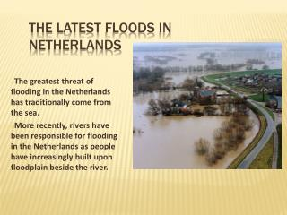 The  latest floods  in  N etherlands