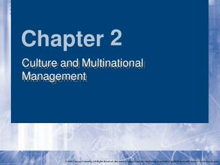 Culture and Multinational Management