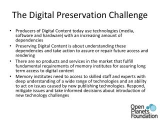 The Digital Preservation Challenge
