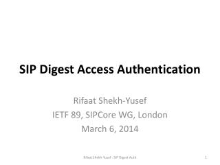 SIP  Digest Access Authentication