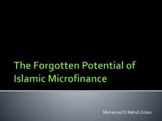 The  Forgotten Potential  of Islamic  Microfinance
