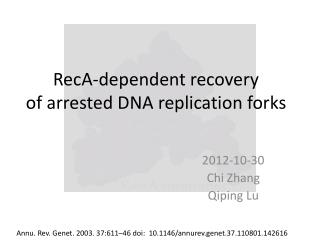 RecA - dependent  recovery   of arrested DNA replication forks