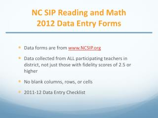 NC SIP Reading and Math 2012 Data Entry Forms