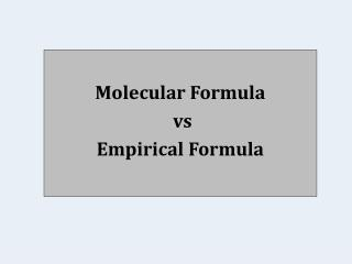Molecular Formula vs Empirical Formula