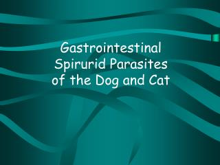 Gastrointestinal Spirurid Parasites of the Dog and Cat