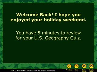 Welcome Back! I hope you enjoyed your holiday weekend.