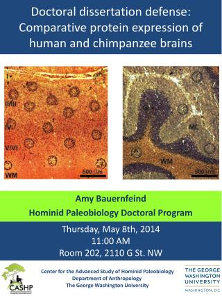 Doctoral dissertation defense: Comparative protein expression of human and chimpanzee brains