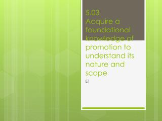 5.03 Acquire a foundational knowledge of promotion to understand its nature and scope