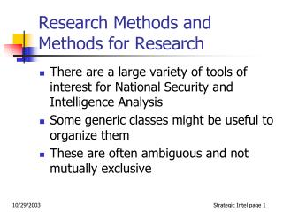 Research Methods and Methods for Research