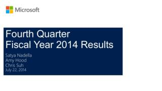 Fourth Quarter   Fiscal Year 2014 Results