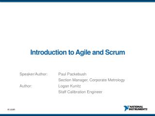 Introduction to Agile and Scrum