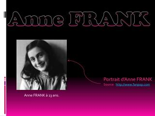 Portrait  d'Anne  FRANK Source:   fanpop