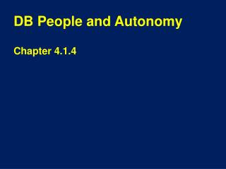 DB People and Autonomy