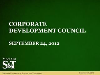 Corporate  development council September 24,  2012
