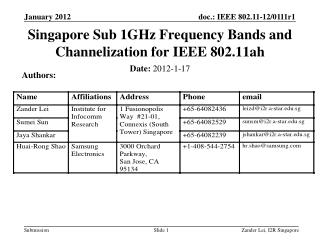Singapore Sub 1GHz Frequency Bands and Channelization for IEEE 802.11ah