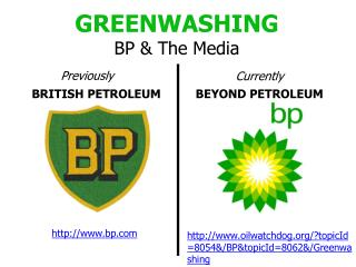 GREENWASHING BP & The Media