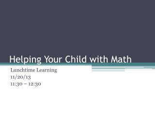 Helping Your Child with Math