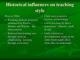 Historical influences on teaching style