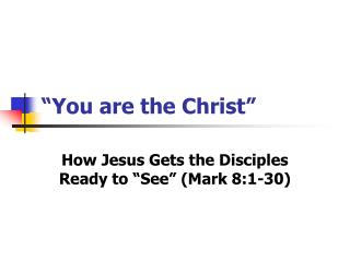 """You are the Christ"""
