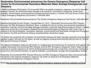 Restoration Environmental announces the Ontario Emergency Re