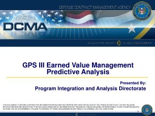 GPS III Earned Value Management Predictive Analysis