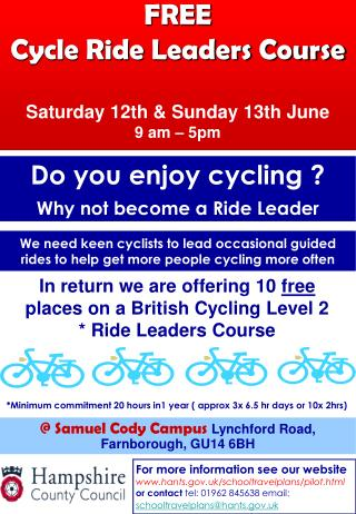 FREE  Cycle Ride Leaders Course Saturday 12th & Sunday 13th June 9 am – 5pm