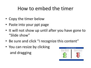 How to embed the timer
