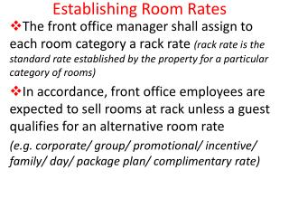 Establishing Room Rates