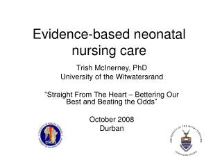 Evidence-based neonatal nursing care