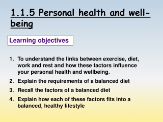 1.1.5 Personal health and well-being