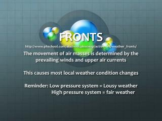 FRONTS  phschool / atschool / phsciexp / active_art / weather_fronts /