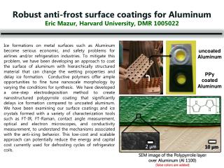 Robust anti-frost surface coatings for Aluminum Eric Mazur, Harvard University, DMR 1005022
