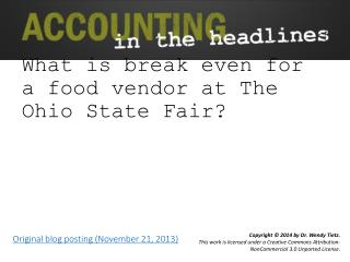 What is break even for a food vendor at The Ohio State Fair?
